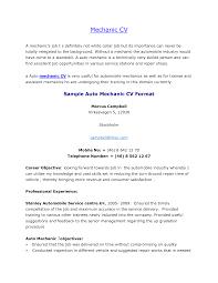 auto mechanic sle resume resume for a mechanic mechanic resume