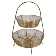 tiered fruit basket 2 tier gold plated wire basket threshold target