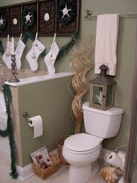 ideas nice christmas bathroom decor ideas sipfon home deco the grey back wall with traditional ornament has green plant decoration finally you can embellish the bathroom with white personalized stocking ideas