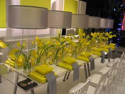 decorated tables for wedding receptions yellow and grey wedding 2