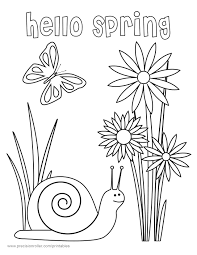 coloring pages kids hello spring kindergarten coloring pages