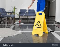 Floor Up by Closeup Man Cleaning Floor Yellow Wet Stock Photo 159889187