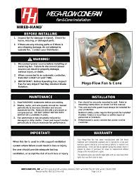 hired hand mega flow slantwall fans fan u0026 cone installation user