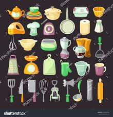 set colorful kitchen utensils used cooking stock vector 319691834