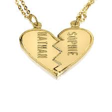 personalized heart pendant personalized gold broken heart necklace couples 18k gold
