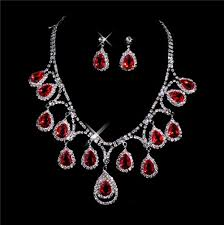 earring necklace ruby images Beautiful ruby women 39 s jewelry set including necklace earrings jpg