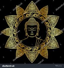 hand drawn buddha head floral decoration stock vector 497097562