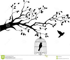 tree silhouette with bird flying stock vector illustration of