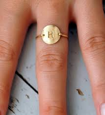 monogram initial ring circle disk letter initial ring 14kt gold filled custom