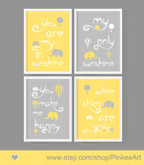 Yellow Gray Nursery Decor You Are My Baby Decor Yellow Gray Air Balloon