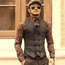 fashion high quality new vest mens casual suit v necked slim fit