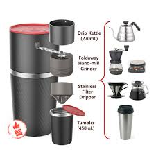 Manual Coffee Grinders Portable All In One Coffee Maker Tumbler Hand Mill Grinder Dripper