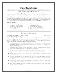 General Resume Objective Sample by Resume Objective Example Marketing