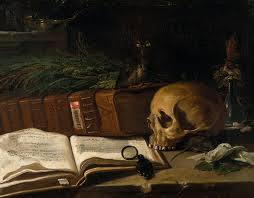 painting book file still with a skull and book painting by an