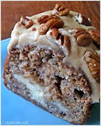 jam hands apple and cream cheese bundt cake with caramel pecan