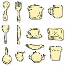 cartoon doodles food and kitchen stuff icons u2014 stock vector