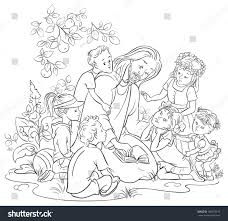 jesus reading bible children coloring page stock vector 185075219