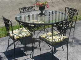 Black Glass Patio Table Impressive On Wrought Iron Patio Furniture Awnings For Front