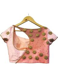 golden blouse pink golden embroidery designer back saree blouse