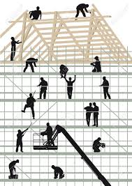 construction workers building a hous royalty free cliparts