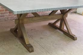zinc top farm table with x trestle base ecustomfinishes