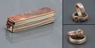 mokume gane left a mokume gane billet consisting of 11 layers of 18 karat