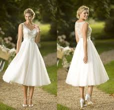 tea length wedding dresses uk cheap 2017 new lace country wedding dresses v neck