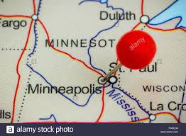 Minneapolis Map Usa by Close Up Of A Red Pushpin On A Map Of Minneapolis Usa Stock Photo