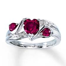 ruby sterling rings images Kay lab created ruby ring heart cut with diamonds sterling silver jpg