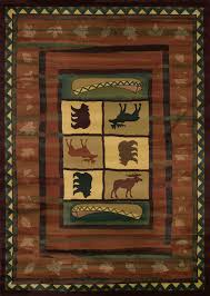 pine cone area rug hearthstone 5x8 area rug with moose and bears