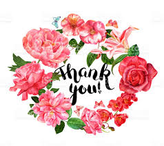 thank you flowers thank you wreath with brushpen lettering and watercolor flowers