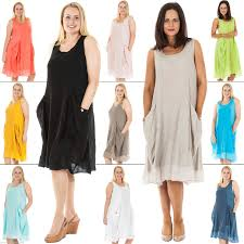 Plus Size Lagenlook Clothing Womens Italian Lagenlook Ribbed Pocket Sleeveless Linen Dress Plus
