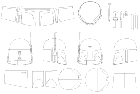 boba fett helmet blueprints templates movie props pinterest