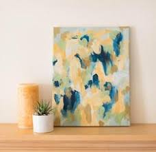 l shades 14 inches high wall art 14x11 abstract painting gold accent small abstract art
