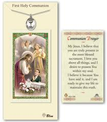 1st Holy Communion Invitation Cards Pewter First Holy Communion Medal With Prayer Card