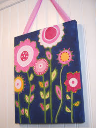 Flower Garden Canvas Painting  X  Original Handmade Girl Room - Canvas paintings for kids rooms
