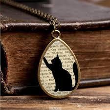 black cat pendant necklace images Wholesale 2017 new cat silhoette necklace cute black cats jewelry jpg
