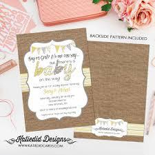 rustic chic burlap invitation diaper and wipe brunch surprise