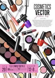 makeup artist accessories cosmetics product presentation poster makeup accessories set