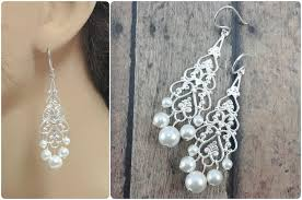 Chandelier Earrings Bridal Filigree Earrings With Pearls To Match Wedding Dresses Amanda
