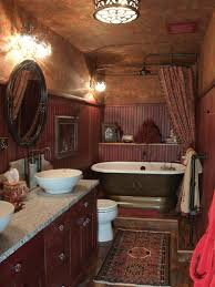 bestbathrooms victorian cross head traditional basin taps and bath freestanding tub options pictures ideas tips from hgtv rustic cowgirl bathroom with distressed red vanity