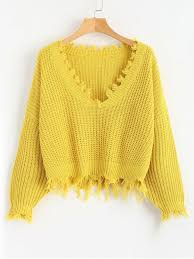 v neck sweater s ripped v neck sweater yellow sweaters one size zaful