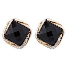 clip on stud earrings clip on earrings betty b gold stud earring with a black