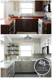 budget kitchen makeover diy faux marble countertops painted