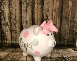 personalized silver piggy bank silver piggy bank etsy
