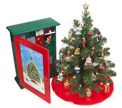 pacconi advent cabinet w prelit tree 24 blownglass