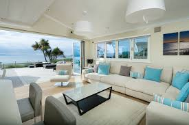 blue and white beach living room color schemes using l shaped