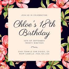 birthday invitation 18th birthday invitation templates canva 18 birthday invitation