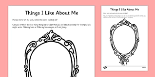 things i like about me self esteem worksheet cfe early level