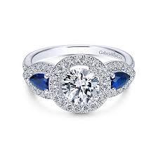 white stones rings images Anselma 14k white gold round 3 stones halo engagement ring jpg